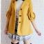 ((ขายแล้วครับ))((จองแล้วครับ))ca-2673 เสื้อโค้ทกันหนาวผ้าวูลสีเหลือง รอบอก32 thumbnail 3
