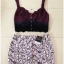 Topshop Heart Purple Black Skirt Size Uk10 thumbnail 2