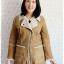 ((ขายแล้วครับ))((จองแล้วครับ))ca-2531 เสื้อโค้ทกันหนาวผ้าชามัวร์สีน้ำตาล รอบอก40 thumbnail 1