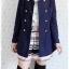 ((ขายแล้วครับ))((คุณสุพรรณีจองครับ))ca-2652 เสื้อโค้ทกันหนาวผ้าวูลสีกรมท่า รอบอก36 thumbnail 3