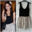 Topshop ladies Black & Cream Polka Dot Summer dress Size Uk10 thumbnail 1