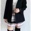 ((ขายแล้วครับ))((จองแล้วครับ))ca-2656 เสื้อโค้ทกันหนาวผ้าวูลสีดำ รอบอก40 thumbnail 3