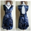 Warehouse Navy Silk Dress Size uk 10 thumbnail 1