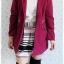 ((ขายแล้วครับ))ca-2657 เสื้อโค้ทกันหนาวผ้าวูลสีม่วงบานเย็น รอบอก38 thumbnail 3
