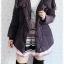 ((ขายแล้วครับ))((จองแล้วครับ))ca-2644 เสื้อโค้ทกันหนาวผ้าร่มขนเป็ดสีดำเทา รอบอก46 thumbnail 3