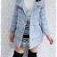 ((ขายแล้วครับ))((คุณอาภาภรณ์จองครับ))ca-2609 เสื้อโค้ทกันหนาวผ้าร่มสีฟ้าอ่อน รอบอก38 thumbnail 3