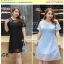 Preorder เดรสผ้าลูกไม้ใหญ่ สีฟ้า XL-3XL thumbnail 1